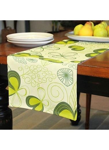 Artikel Yeşil Çizgilsel Desenler Runner Masa Örtüsü 43,5x141,5cm Renkli